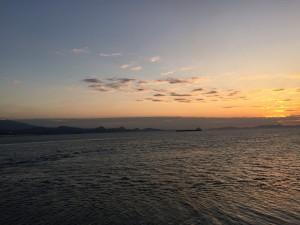 海上公試の夕焼け